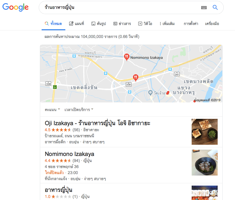 seo ร้านอาหารญี่ปุ่น